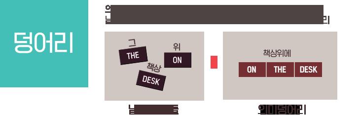 의미덩어리 (CHUNK, 의미덩어리에 대한 깨달음) - 낱개의 단어에서 여러 개의 단어가 뭉쳐져서 생긴 하나의 의미덩어리